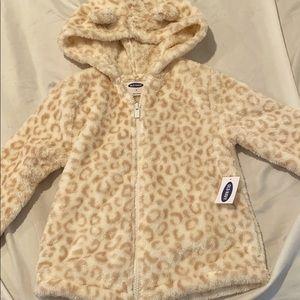 Toddler girls leopard Sherpa jacket